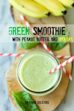 Green Smoothie with Peanut Butter and Banana - This simple smoothie is healthy and nutritious!