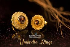 It's raining umbrellas, grab your's now.❣️ Buy exclusive umbrella rings at Ankle Jewelry, Gold Rings Jewelry, Gold Jewellery Design, Ear Jewelry, India Jewelry, Beaded Jewelry, Jewelry Bracelets, Necklace Set, Gold Necklace