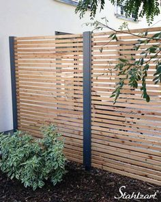 Privacy screen for patio or garden made of larch and anthracite metal from Stahlzart ® · mod… Pergola, Gazebo, Patio Privacy Screen, Alpine Plants, Garden Types, Aquatic Plants, Back Gardens, Growing Plants, Garden Design
