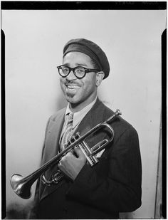 "Dizzy Gillespie (October 1917 – January was an American jazz trumpeter, bandleader, composer, and singer. John Birks ""Dizzy"" Gillespie was born in Cheraw, South Carolina. Jazz Artists, Jazz Musicians, Music Artists, Soul Music, My Music, Montreux Jazz, Dizzy Gillespie, Amadeus Mozart, Smooth Jazz"