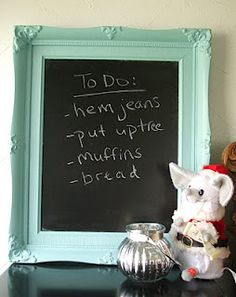 """DIY Chalkboard using old picture frame. I could use this to teach the boys new words everyday. Like a """"word of the day"""" frame. Old Picture Frames, Old Frames, Adult Crafts, Diy Crafts, Garage Sale Signs, Diy Chalkboard, For Sale Sign, Easy Projects, Craft Projects"""