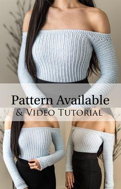 Diy Crochet Top, Crochet Long Sleeve Tops, Crochet Summer Tops, Crochet Blouse, Crochet Clothes, Diy Clothes, Crop Top Pattern, Crochet Fashion, Minimalist Style