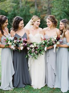 Mix and match grey bridesmaids dresses that are oh so fab! http://www.stylemepretty.com/2017/01/05/woodland-virginia-wedding/ Photography: Shannon Moffit - http://www.shannonmoffit.com/