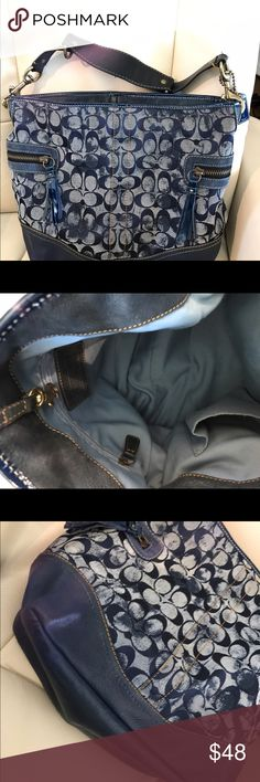 Blue distressed Coach bag Very nice bag, in near perfect condition, there are a couple of minor spots on the lining that are not very noticeable. The zippers wrap around on the sides. Coach Bags Shoulder Bags