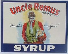 Uncle Remus Syrup Tin Sign Black Americana Ad Country Kitchen Home Decor