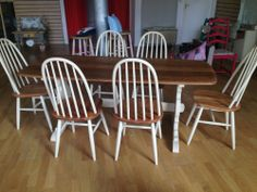 Ercol solid oak table & 6 chairs - painted in Annie Sloan Old Ochre