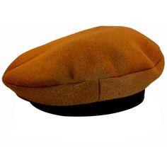 ee9f8ee165c Preowned Hermes Camel Tan Cashmere   Ebene Deerskin Leather Beret Cap...  ( 650