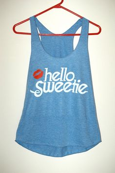 Hello Sweetie - Tri-blend Racerback Ladies Tank Top  - Athletic Blue  - Size Medium on Etsy, $22.65