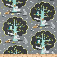 Michael Miller Les Amis in Gray  By the Yard by BobbieLouFabric - 1 yard for pillowcase