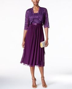 R & M Richards Petite Belted Glitter Lace Dress and Jacket