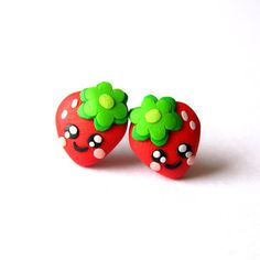 Childrens Girls Teens Womens Polymer Clay Small Stud Strawberry Leaf Red and Green Fruit Funny Kawaii Style Summer Earrings Jewelry