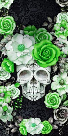 Skull Wallpaper, Apple Wallpaper, Galaxy Wallpaper, Cool Wallpaper, Wallpaper Backgrounds, Iphone Wallpaper, Sugar Skull Artwork, Toenail Art Designs, Sugar Skull Tattoos