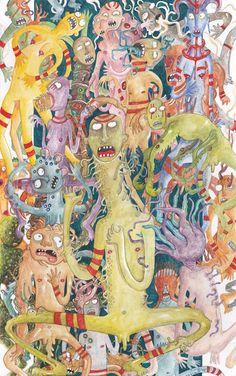 """Queste sono alcune ipotetiche creature create da Sabina Meschisi che potrebbero vivere nello straordinario fumetto""""L'Eponge di Samir Noferi"""" di Dario Balletta e Fabio Catanese. Realizzati su schedario con acquerelli e acrilici. Qui la pagina ufficiale di """"L'eponge di Samir Noferi"""" :https://www.facebook.com/lepongecommittee?fref=ts #monsters #mostri"""