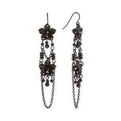 Candie's Black Flower Linear Drop Earrings