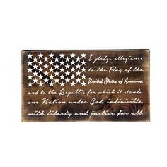 Wood Flag Pledge of Allegiance Sign- Primitive Home Decor, Thank you Gift, Classroom Sign, Gift for Dad, Father's Day, Patriotic Home Decor by LEVinyl on Etsy