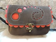 Handmade leather dark brown suede medium size bag with red kidskin circle inlays and scalloped edges by RoundOakLeather on Etsy