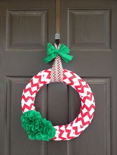 Red Chevron Christmas Wreath with Green by PolkadotsOriginals