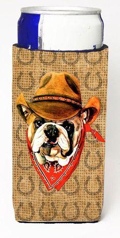 Bulldog English Dog Country Lucky Horseshoe Ultra Beverage Insulators for slim cans SP5231MUK