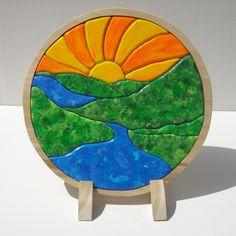 Sunrise River Landscape Wooden Puzzle by ThePuzzledOne on Etsy Colegio Ideas, Montessori, Intarsia Patterns, Intarsia Woodworking, Woodworking Patterns, Natural Toys, Scroll Saw Patterns, Wooden Puzzles, Wood Toys