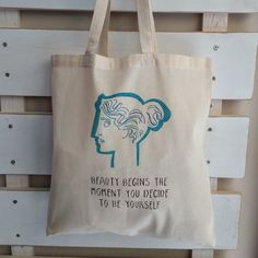 """Woman """"Beauty Begins The Moment You Decide To Be Yourself"""", handpainted handcrafted bag, natural cotton bag colourfull design shopping bag Plastic Shopping Bags, Greek Design, Stencil Painting, Reusable Bags, Cotton Bag, Canvas Tote Bags, Beauty Women, Hand Painted, In This Moment"""