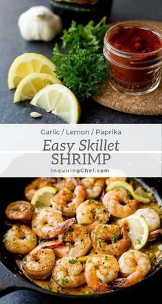 This bright, fresh Lemon Garlic Butter Shrimp recipe may be the fastest main dish you can make for dinner tonight. Take just a few minutes to prepare fresh lemon juice, parsley, and garlic and the shrimp cooks in less than 10 minutes. Great on its own or over pasta, rice, or another grain. This is a terrific easy recipe for all the seafood lovers! | InquiringChef.com