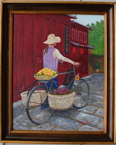 """""""Chinese Fruit Vendor with Bicycle"""" painting by Patricia Thomas"""