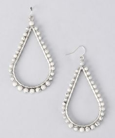Take a look at this White & Silver Beaded Teardrop Earrings by ZAD on #zulily today!