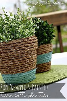 rope wrapped amp painted pots, diy home crafts, gardening, Need some texture and color for your outdoor table Try these easy rope wrapped and painted terra cotta pots