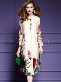 Shop for high quality Floral Print Silk Long Sleeve Shift Dress online at cheap prices and discover fashion at Ezpopsy.com