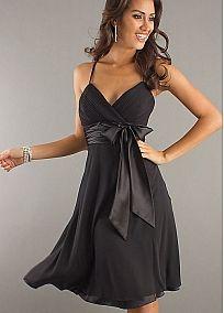 Simple Chiffon & Stretch Satin A-line V-Neckline Empire Waist Knee-Length Black Homecoming Dress