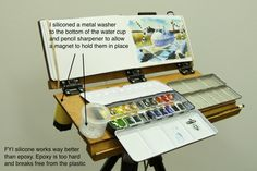 Last month after sharing my own lightweight sketch easel design, I put out a call to all you Do-It-Yourselfers to share your home-built sk. Art Studio Storage, Art Supplies Storage, Plein Air Easel, Diy Easel, Pochade Box, Watercolor Kit, Gear Art, Z Arts, Art Plastique