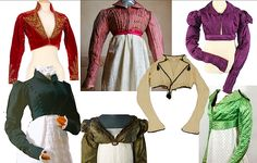 SPENCER - The Spencer jacket was an item peculiar to the Regency period because it was specifically designed to coordinate with the empire waist gown. It was tightly fitted to the woman's shapely torso, had either a standing or flat collar, and could have short or long sleeves. The bottom of the jacket conformed level with the high waist of the gown. Spencer jackets were often made of linen though wool or silk could be used.