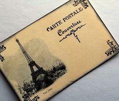 vintage wedding place cards, postcard, French escort, Eiffel Tower, Set of 12. $15.60, via Etsy.