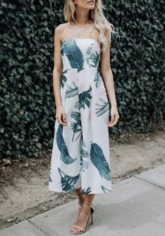 White-Green Floral Bandeau Off-Shoulder Open Back Long Jumpsuit-12137482893-00