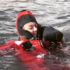 A #SeaScout who really decided to #GetOnTheWater with the survival suit training at #SafetyatSea with the @USCG.