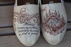 Marauder's Map TOMS Custom by Gryfindor on Etsy, $80.00. I MUST HAVE THESE!