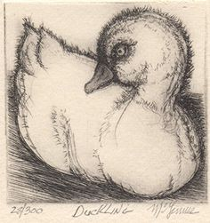 Duckling   Duckling This Artist Proof print of Christine McGinnis was 'pulled' or 'Printed' by David Lynch of movie making fame. Christine made these prints from the Mid 60's until the early 80's. Rodger LaPelle and Christine McGinnis would travel through the untied states selling the prints to retailers.  http://www.finelifeart.com/duckling-3/