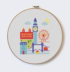 London - modern cross stitch pattern - PDF format - instant download