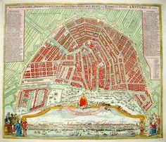 Amsterdam. Deels oudtijds handgekleurde kopergravure, uitgegeven te Neurenberg omstreeks 1730 door Johann Baptist Homann.
