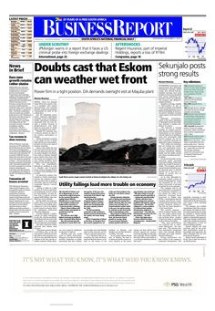 Today's Business Report newspaper front page (November 5, 2014) deals with the news about Eskom and Sekunjalo's latest results.  To read these stories and more click here: http://www.iol.co.za/business