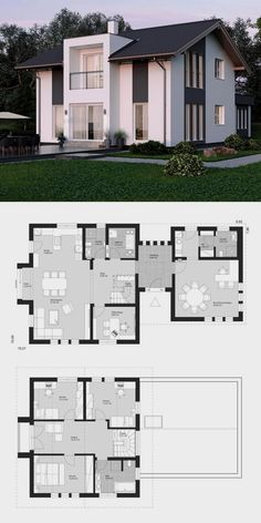Haus Modern family house architecture floor plan with office extension & gable - prefabricated house Sims 4 House Plans, House Layout Plans, Dream House Plans, House Layouts, House Floor Plans, Modern Family House, Family House Plans, Small House Plans, Sims House Design