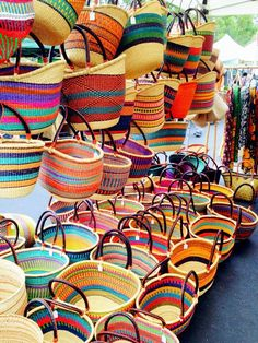 "afrikani: "" Bolgatanga baskets, woven in Ghana. Photo: The Baba Tree Company "" African Crafts, African Home Decor, Deco Nature, Tree Company, Market Baskets, Basket Decoration, Christen, Ghana, Basket Weaving"