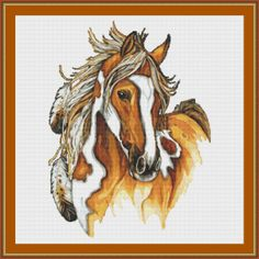Oh, I LIKE this a whole bunch!!!  American Indians horse  1  CROSS STITCH PATTERN by Maxispatterns, €5.90.  /So very pretty EL./