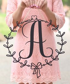Morgann Hill Designs Unfinished Wood Spring Initial Wall Wreath