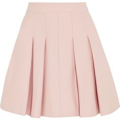 Pleated stretch-cotton mini skirt (485 BRL) ❤ liked on Polyvore featuring skirts, mini skirts, bottoms, saias, faldas, red valentino skirt, pink pleated mini skirt, short pleated skirt, pink mini skirt and short mini skirts