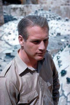 "Paul Newman on the set of ""Exodus."""