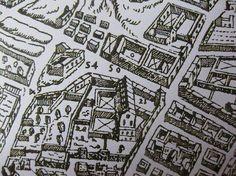 1566 A Lafrery-- PARTICOLARE CON LA CHIESA ED IL MONASTERO DI S. CHIARA — a Napoli.