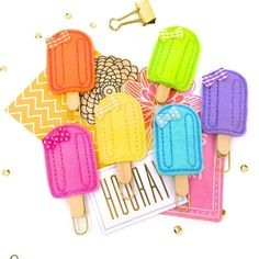 Popsicle Ice Cream Planner Clip Felties | Bookmark Cute Paper Clips Filofax, KikkiK, Midori, Erin Condren Summer Planner Accessories 6 colors- Magnets. Get ready for Summer with these adorable Popsicle Felt Paper Clips.  Mark special pages, plan your Vacation, hold notes or pictures; use them in your craft projects or scrapbook lay outs.  #planneraddicts #plannerclips #planneraccessories #felties #popsicle #summer
