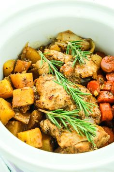 This crockpot recipe combines chicken thighs, carrots, and potatoes for an all-in-one meal that cooks in a savory balsamic and dijon sauce.