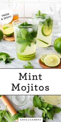 Lemon Mojito Recipe, Healthy Mojito Recipe, Refreshing Cocktails, Summer Drinks, Mint Recipes, Vegan Recipes, Spring Recipes, Easy Recipes, Recipes
